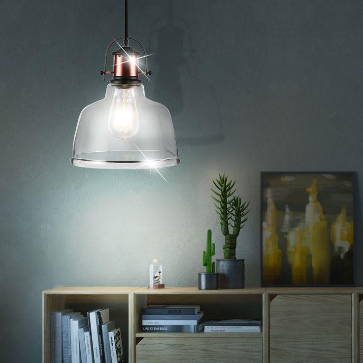 Retro pendant lamp living room industry country house style ceiling lamp glass lamp Vtac 3727 – Bild 3