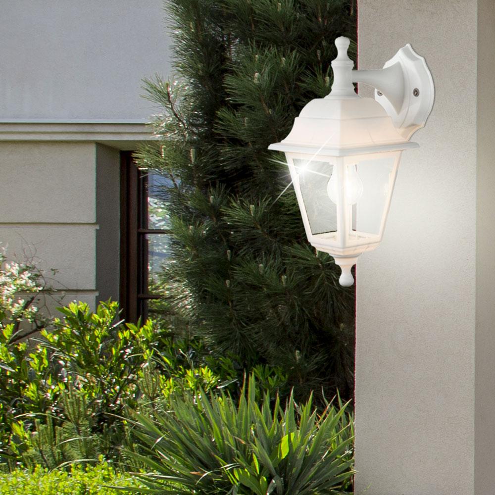 au enbeleuchtung terrasse glas klar wandlampe laterne strahler ip44 leuchte wei ebay. Black Bedroom Furniture Sets. Home Design Ideas