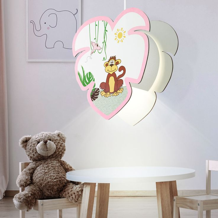 Kids pendulum lamp game room ceiling lighting monkey motif girl hanging lamp EGLO 96951 – Bild 2