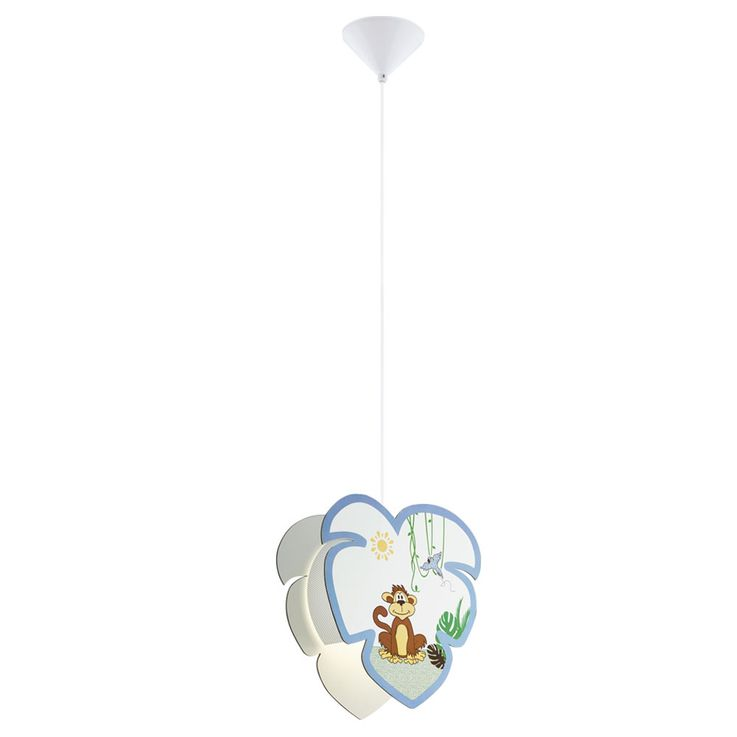 Pendulum Lamp Baby Game Room Wood Umbrella Monkey Motif Boys Girls Animal Hanging Lamp EGLO 96952 – Bild 1