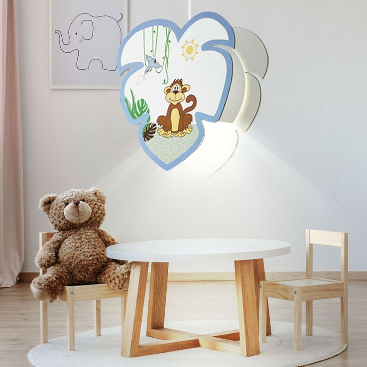 Pendulum Lamp Baby Game Room Wood Umbrella Monkey Motif Boys Girls Animal Hanging Lamp EGLO 96952 – Bild 2