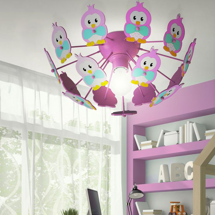 Design Kids Game Room Ceiling Lighting Spotlight Lamp Owls Animal Motif Light Eglo 95637 – Bild 3