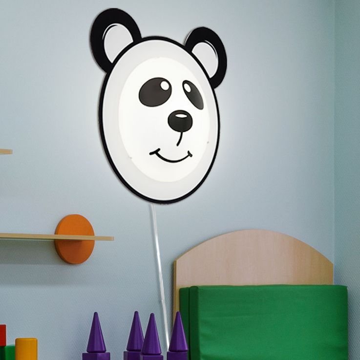 Wall lamp Panda motif lighting children game room glass switch lamp black white Eglo 95746 – Bild 3