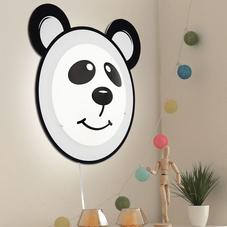 Wall lamp Panda motif lighting children game room glass switch lamp black white Eglo 95746 – Bild 2