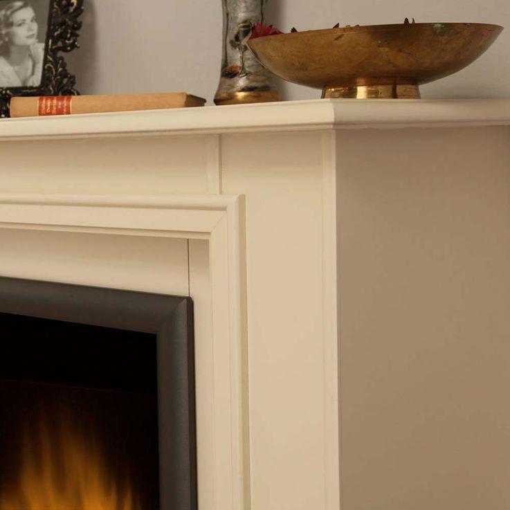 Elektro Stand Kamin Design Ofen Flammen Effekt cremeweiß Deko Heizung – Bild 5