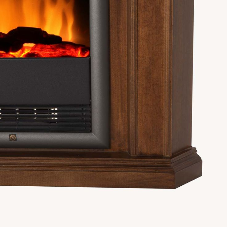 Holz Elektro Stand Eck Kamin Flammen Effekt Heizung Ofen Ess Zimmer klassisch  – Bild 3