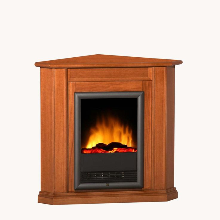 Holz Elektro Eck Stand Kamin klassisch Flammen Knister Effekt Heizung Ess Zimmer – Bild 1