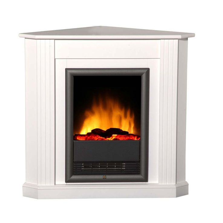 Eck Stand Kamin brilliant weiß Heizung Ofen Effekt Flammen Wohn Zimmer elktro – Bild 1