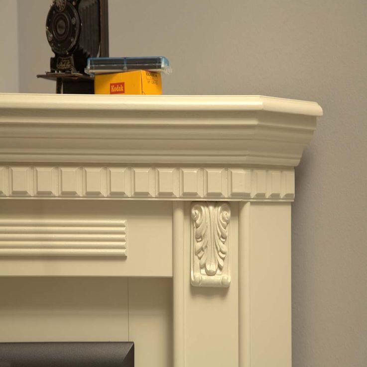 Klassicher Stand Kamin Kolonial Stil Elektro Heizung Ofen creme weiß Wohn Zimmer – Bild 3