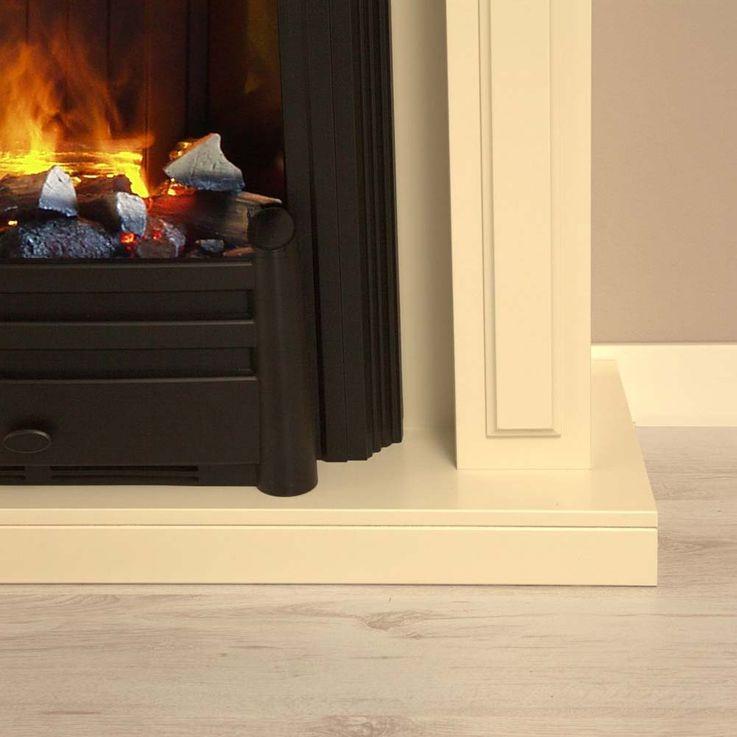 Stand Kamin Klassisch Deko Knister Flammen Effekt Heizung Ofen creme weiß – Bild 6