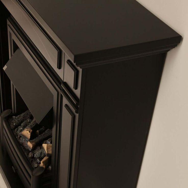 Deko Stand Elektro Kamin Flammen Knister Effekt Ofen schwarz klassisch Esszimmer – Bild 22