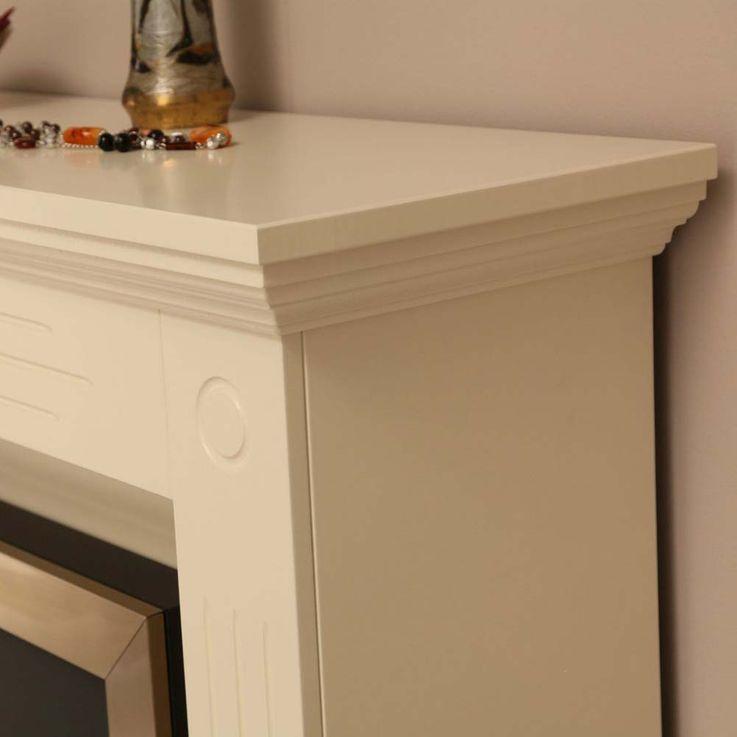 Elektro Effekt Stand Kamin creme weiß Deko Flammen Heizung klassisch Wohnzimmer – Bild 4