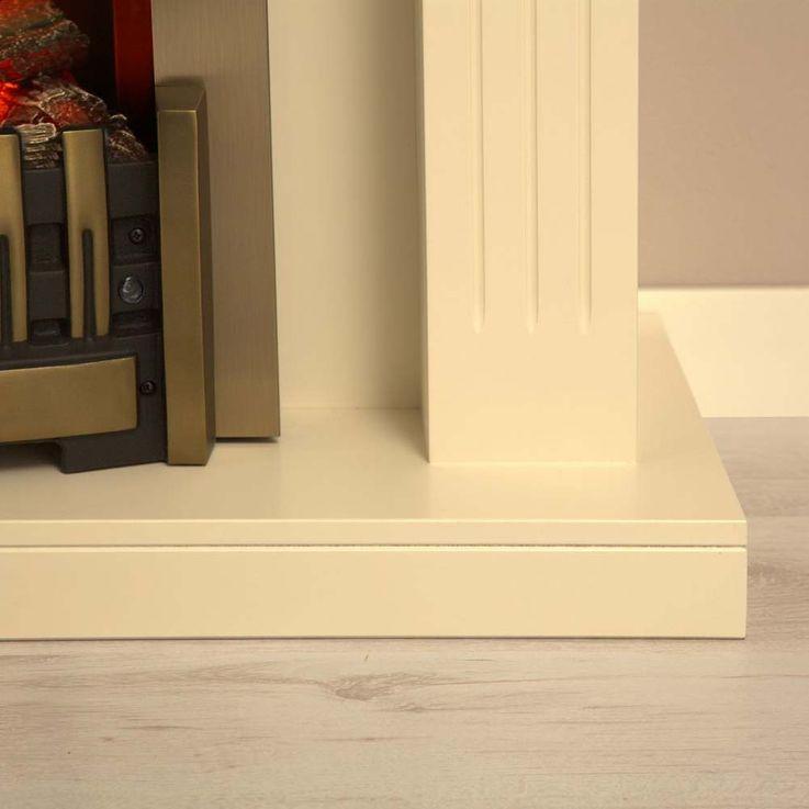 Elektro Effekt Stand Kamin creme weiß Deko Flammen Heizung klassisch Wohnzimmer – Bild 9