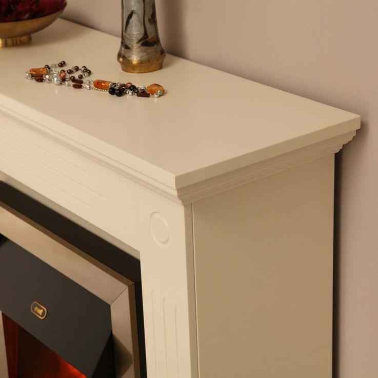 Elektro Effekt Stand Kamin creme weiß Deko Flammen Heizung klassisch Wohnzimmer – Bild 13