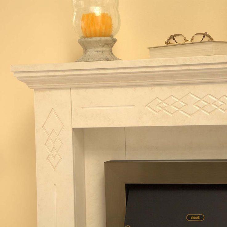 Stand Kamin klassisch beige creme Elektro Heizung Effekt Flammen Schlafzimmer – Bild 7