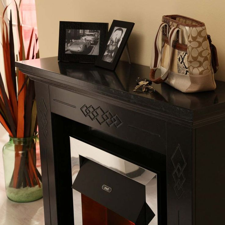 Elektro Stand Kamin klassisch marmoriert schwarz Effekt Deko Flammen Heizung – Bild 5