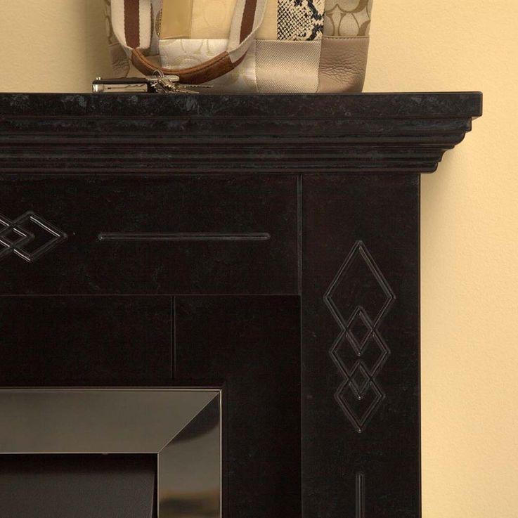 Elektro Stand Kamin klassisch marmoriert schwarz Effekt Deko Flammen Heizung – Bild 10