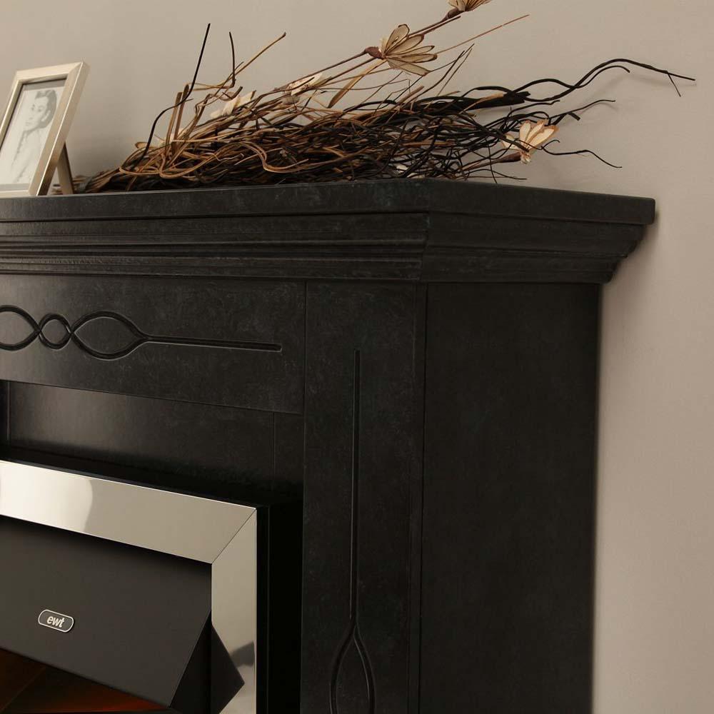 stand kamin schwarz grau marmoriert 3d flammen elektro heizung fernbedienung ebay. Black Bedroom Furniture Sets. Home Design Ideas