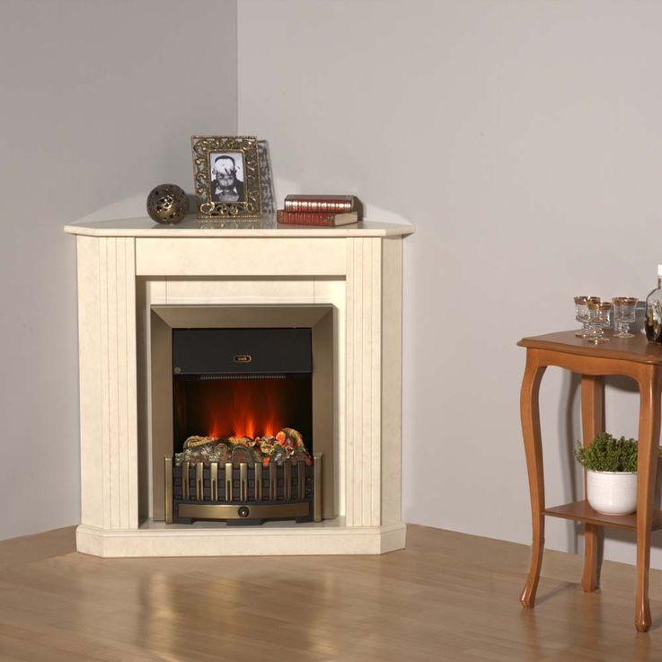 Design Elektro Kamnin Stand Heizung marmoriert beige creme Deko Flammen Effekt – Bild 5