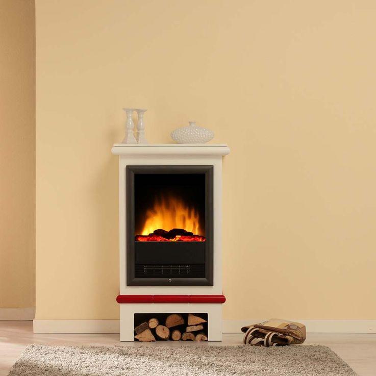 Design Elektro Heizung Stand Kamin Effekt Flammen Deko Ofen brilliant weiß  – Bild 12