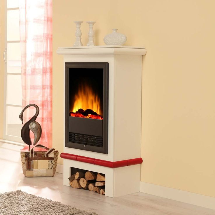 Design Elektro Heizung Stand Kamin Effekt Flammen Deko Ofen brilliant weiß  – Bild 13