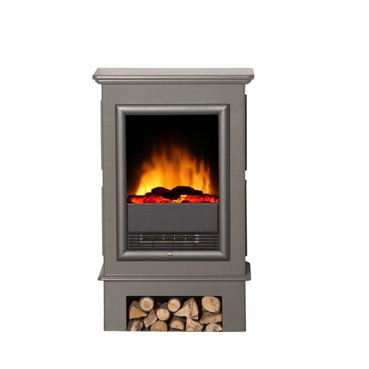 Luxus Elektro Stand Kamin grau Flammen Knister Effekt Heizung Ofen Wohnzimmer – Bild 1