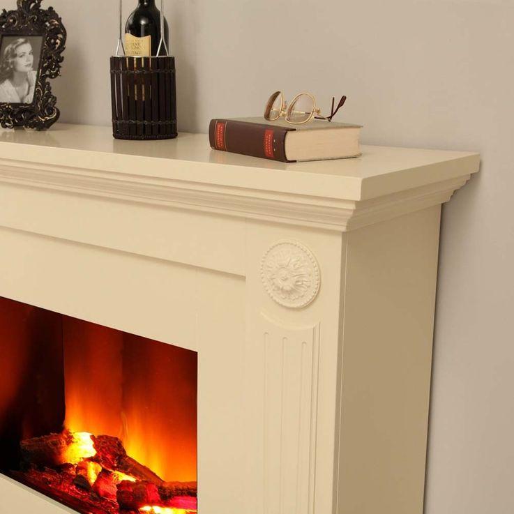 Klassischer Stand Kamin creme weiß Heizung Elektro Deko Flammen Effekt Ofen – Bild 4