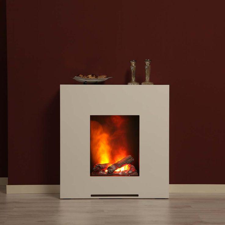 Luxus Stand Kamin Deko Flammen Effekt Elektro Heizung brilliant weiß Wohnzimmer – Bild 7
