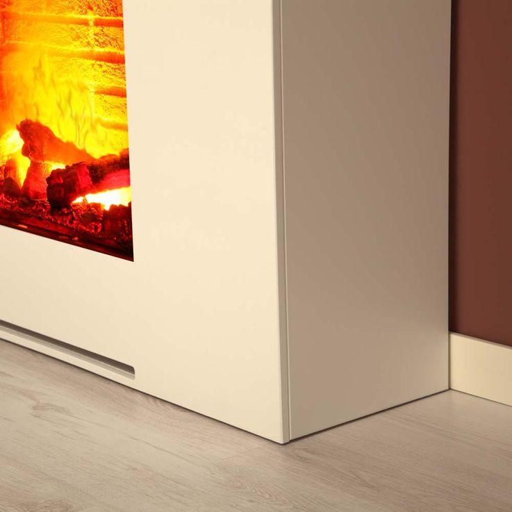 Stand Kamin Design Deko Flammen Effekt Wohnzimmer Heizung Elektro brilliant weiß – Bild 4