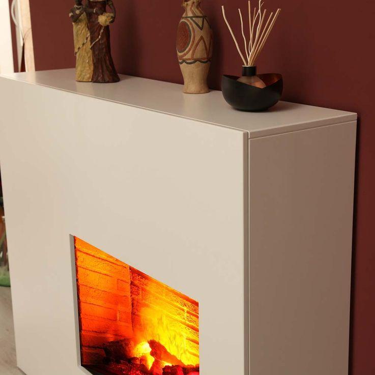 Stand Kamin Esche Natur Design Elektro Heizung brilliant weiß Flammen Effekt – Bild 2