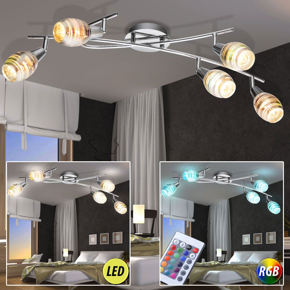 led chrom decken lampe dimmbar rgb fernbedienung leuchte 3d effekt glas strahler ebay. Black Bedroom Furniture Sets. Home Design Ideas