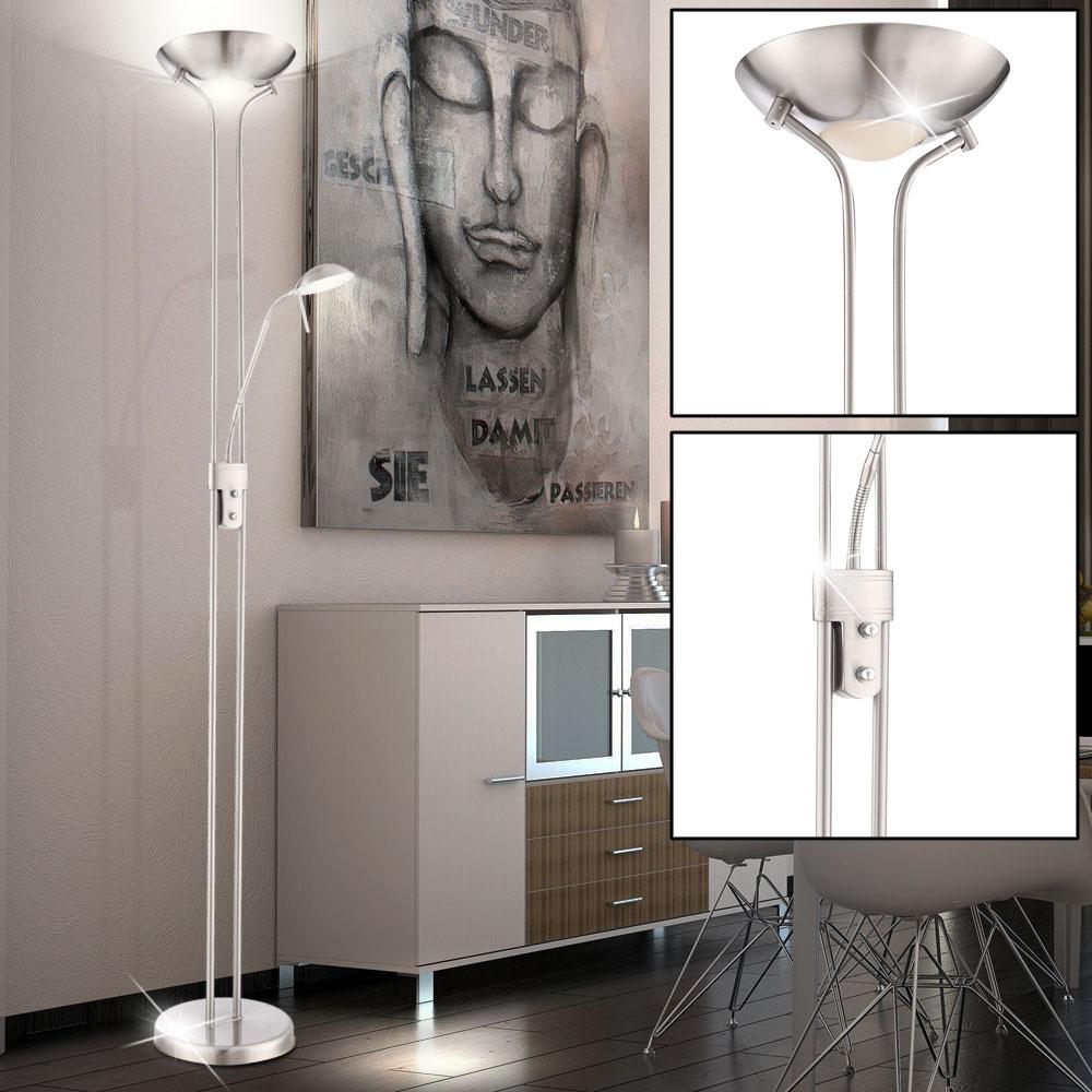 led steh lampen decken fluter stand boden leuchten wohnraum lese spot beweglich ebay. Black Bedroom Furniture Sets. Home Design Ideas