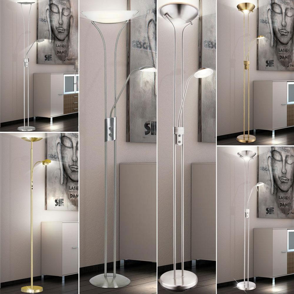 LED Steh Lampen Decken Fluter Stand Boden Leuchten Wohnraum Lese Spot beweglich