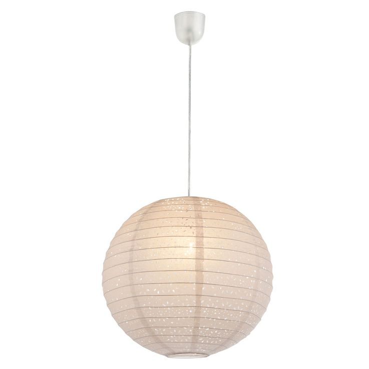 E27 suspension pendentif lampe 230 volts papier 60 watts trous métalliques perforations IP20 blanc  – Bild 1