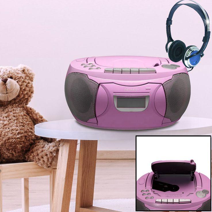 CD Player Stereo Radio Boxen Mädchen Kinder Zimmer Musik Anlage im Set inklusive Kopfhörer – Bild 2