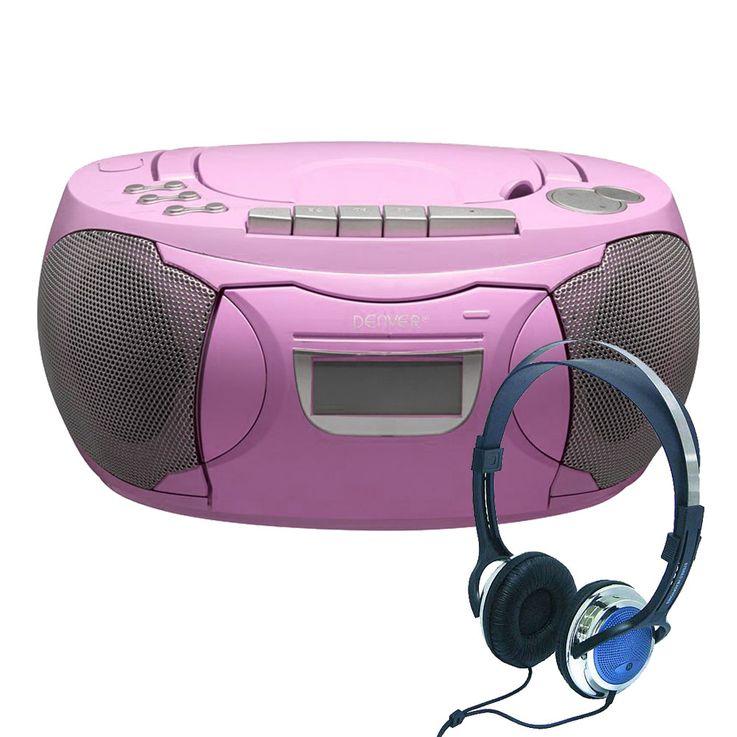 CD Player Stereo Radio Boxen Mädchen Kinder Zimmer Musik Anlage im Set inklusive Kopfhörer – Bild 1