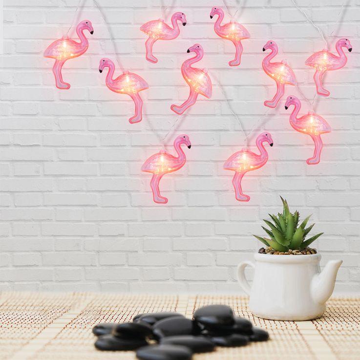 LED lumières chaîne 10x Flamingo partie sous-sol éclairage batterie intérieur salle lampes rose Globo 29982 – Bild 3
