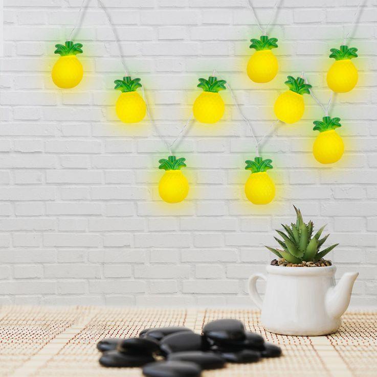 LED Déco Lumières Chaîne Ananas Figurines Éclairage Salon Sommeil Lampes Jaune Vert Globo 29984 – Bild 4