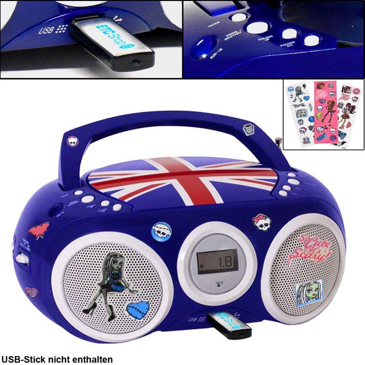 Design CD Spieler Stereo Radio USB Anlage Jungen Kinder Zimmer Musik im Set inklusive Aufkleber – Bild 1