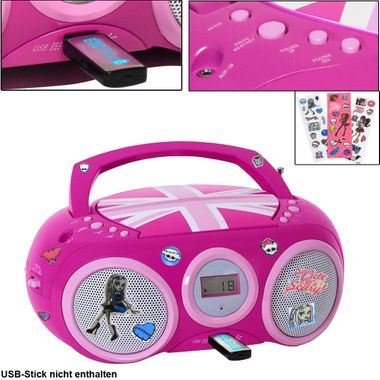 Lecteur CD Radio Système USB Radio Filles Enfants Room Set Y compris Monster High Stickers – Bild 1