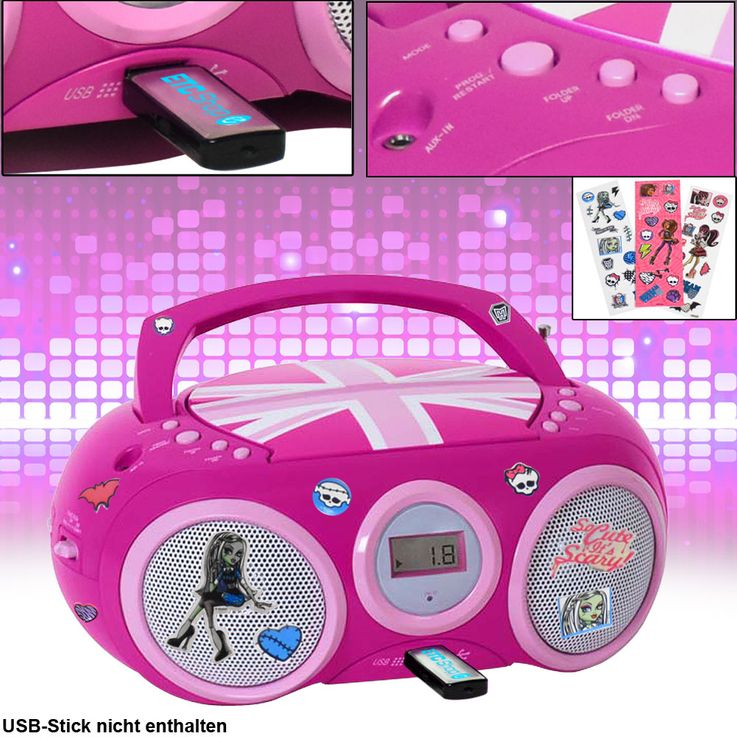 Lecteur CD Radio Système USB Radio Filles Enfants Room Set Y compris Monster High Stickers – Bild 2