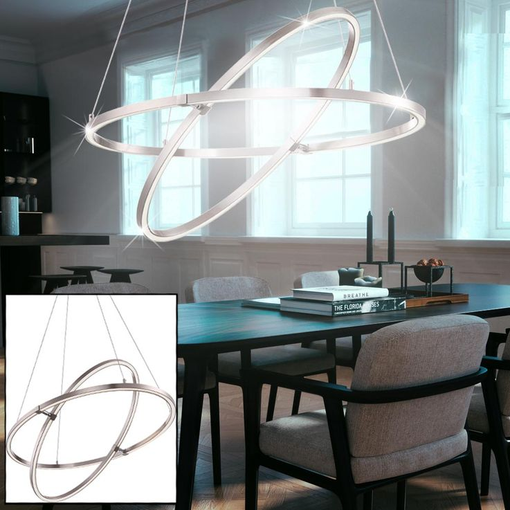 Design LED ceiling hanging lamp living room 3 steps switch pendulum rings light  Globo 67809HLU – Bild 3