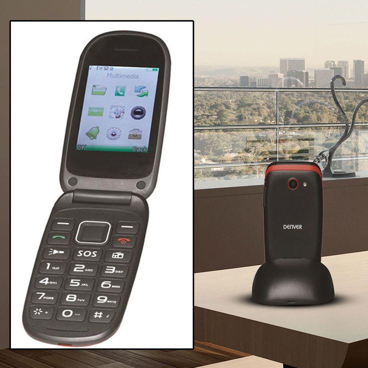 Mobil Telefon Senioren Klapp Handy Großtasten Radio SOS-Taste Bluetooth Kamera Denver BAS-24100M – Bild 2