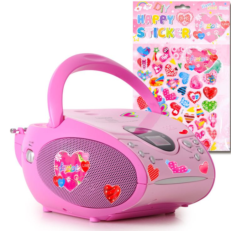 Stereo FM Radio Girl CD Player Pink LCD Display Music System Portable Set Incl.Heart Sticker – Bild 1