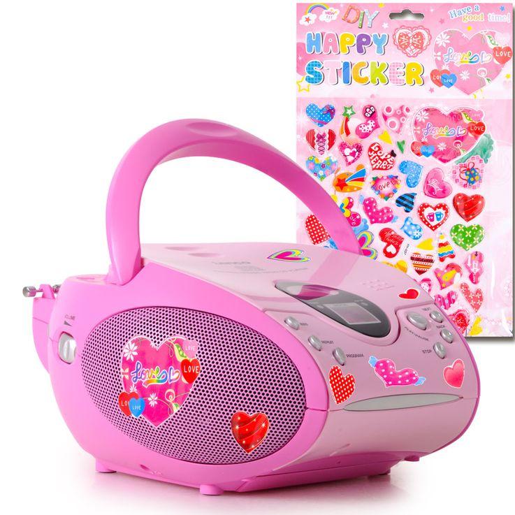 Stereo FM Radio Mädchen CD Player pink LCD Display Musik Anlage tragbar im Set inkl.Herzen Sticker – Bild 1