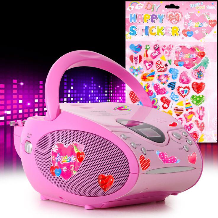 Stereo FM Radio Mädchen CD Player pink LCD Display Musik Anlage tragbar im Set inkl.Herzen Sticker – Bild 2