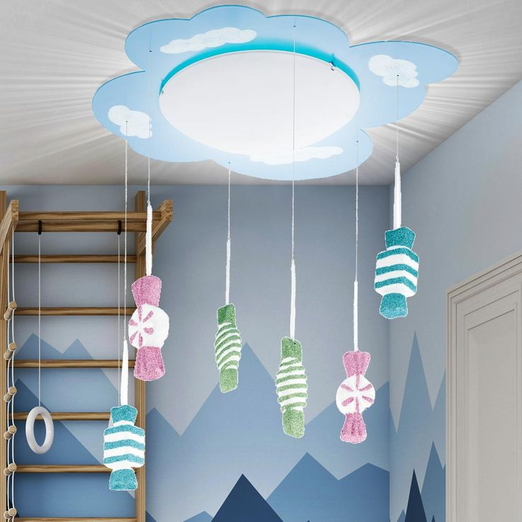 Kids Game Room Ceiling Lighting Hanging Lamp Glitter Candy Pendulum Lamp Glass Eglo 94748 – Bild 3