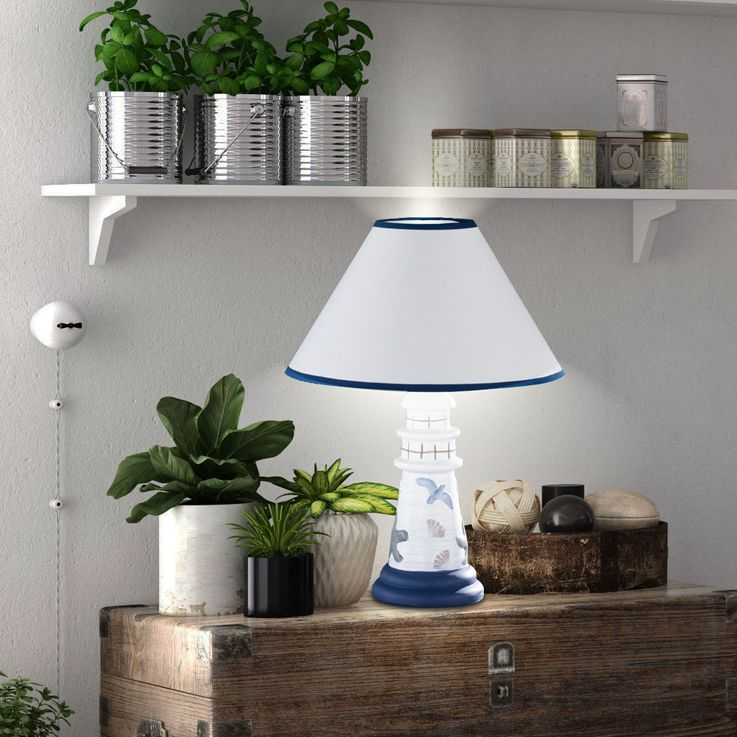 Table lamp living room ceramic reading lamp lighthouse fabric night light Honsel Leuchten 53711 – Bild 4