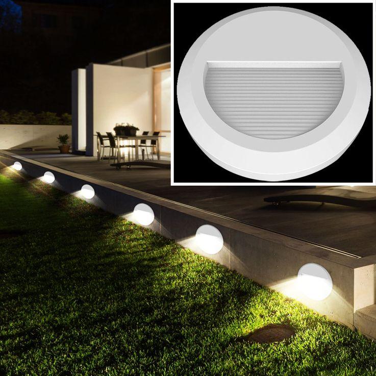 LED Wand Strahler rund Fassaden Außen Beleuchtung Veranda Treppen Stufen Lampe weiß V-TAC 1314 – Bild 3