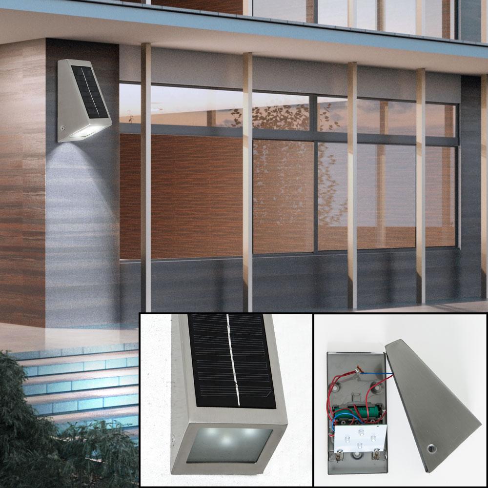 led solar wand leuchten fassaden garagen down strahler au en lampen edelstahl ebay. Black Bedroom Furniture Sets. Home Design Ideas